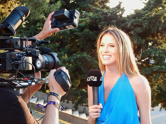 media relations reporter and camera