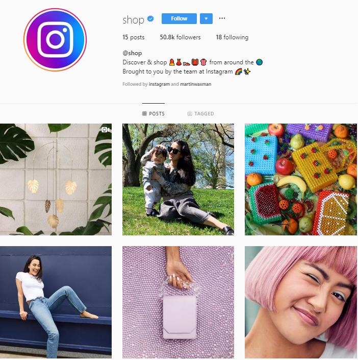 instagram's @shop profile grid